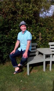 Jeff James sitting on bench