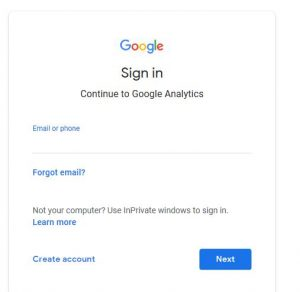 How to Google analytics sign up page